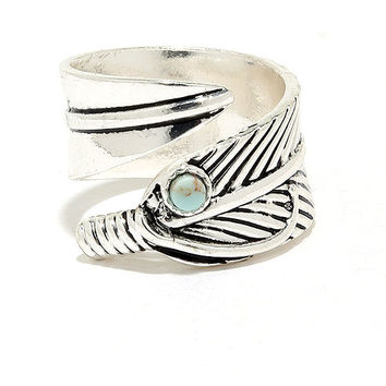 Wing Feather Silver Ring