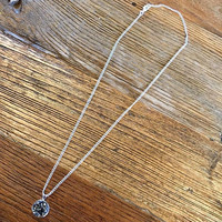 Mecca Fox Druzy Necklace- Charcoal in Silver