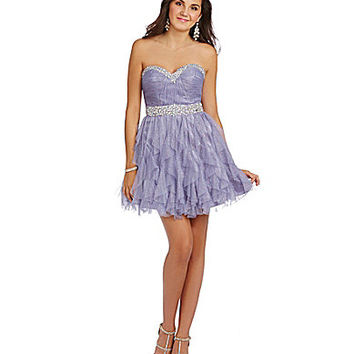 B. Darlin Strapless Beaded Trim Corkscrew Dress - Dusty Lavender
