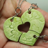 Friendship Heart pendants set of 3 pottery pieces Bright Green Puzzle heart Cherry blossom pattern
