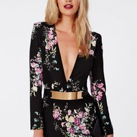 Missguided - Jamie Floral Plunge Tailored Playsuit Black