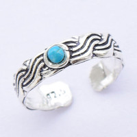 Toe Ring, Turquoise Toe Ring,Silver Toe ring, 925 Silver Toe ring; Knuckle Ring