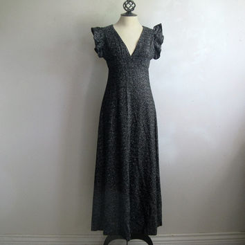 Vintage 1970s Black Maxi Dress Black Silver Metallic Knit Evening 70s Dress Small