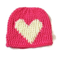 Newborn Baby Hat Pink Cream Heart