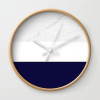 Marble White Royal Blue Wall Clock by ARTbyJWP