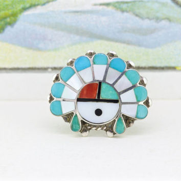 Vintage Sterling Silver Ring | Zuni Ring | Boho Ring | Statement Ring | Cocktail Ring | Tawa Sun god Ring | Southwestern Jewelry | Size 5.5