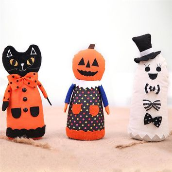 2018 Halloween Cloth Doll Decoration Fabric Ghost Pumpkin Black Cat Doll Atmosphere Layout Dress Up Decorations Cute Funny 1Pc