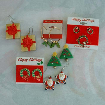 Lot of 6 Pairs Christmas Earrings Enamel Paper Rhinestones Ceramic Holiday Jewelry