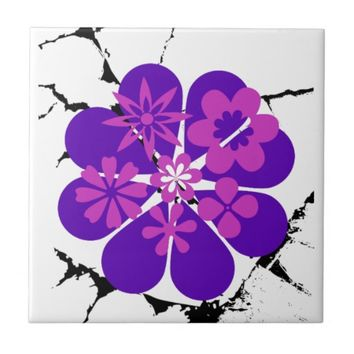 purple and pink flowers ceramic tile