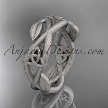 14kt white gold celtic trinity knot wedding band, matte finish wedding band, triquetra ring, engagement ring CT7403G