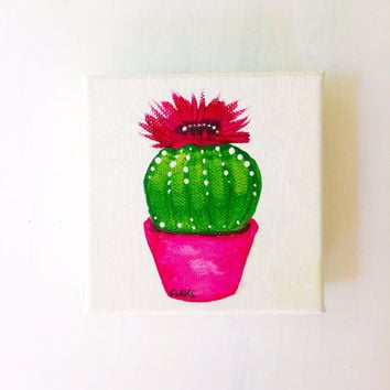 Cactus Art, Cactus Painting, Flowering Cacti, Original Painting, Acrylic Painting, Original Art, Southwestern Art, Southwest Decor, Gift