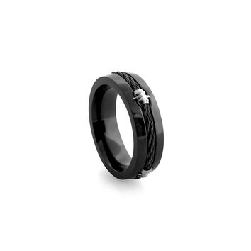 Black Titanium Band Ring with Memory Cable