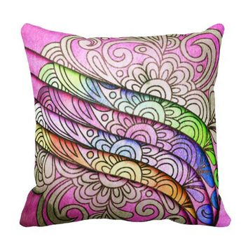 Watercolor Floral Filigree on Paper Cuts Throw Pillow