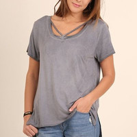 Umgee split neck washed Short Sleeve Tunic
