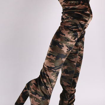 Qupid Velvet Camouflage Chunky Heeled Over-The-Knee Boots | UrbanOG