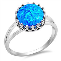 Crown Blue Opal .925 Rings