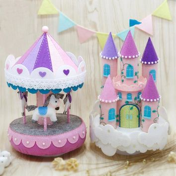 felt appliqué sewing kit DIY Purple Carousel Music Box and castle music box