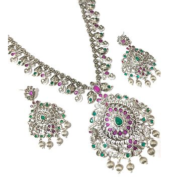 Peacock Pendant dull silver matte finish long haram chain necklace and earring set with kemp stone