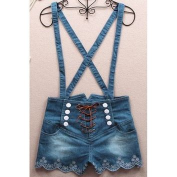 A 071141 c 061401 Retro double-breasted high waist denim overalls from Eternal