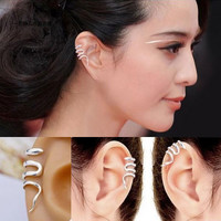 Silver Snake Ear Cuffs (2 Cuffs,No Piercing) | LilyFair Jewelry