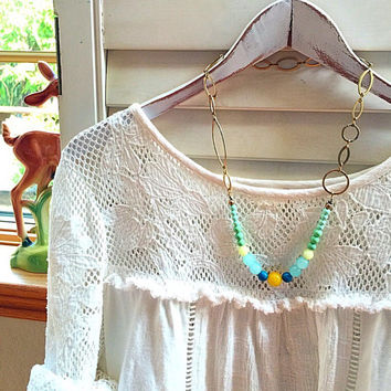 Mint necklace /Pastel statement necklace/ girly fashion /vintage style necklace/ mint, yellow necklace/ french style necklace/ for her