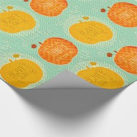 Thanksgiving Thankful Fall Pumpkins Wrapping Paper