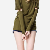 Olive Green Split Sleeved Cotton Shirt