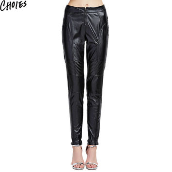 Women Black PU Leather Contrast Patchwork Front Zip Up Slim Cropped Pencil Pants 2016 New Fashion Brief Mid Waist Clothing