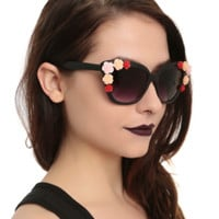Black Flower Cateye Sunglasses
