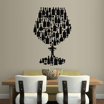 Wall Vinyl Sticker Decals Decor Art Wine champagne Kitchen Wine Glass (z2100)