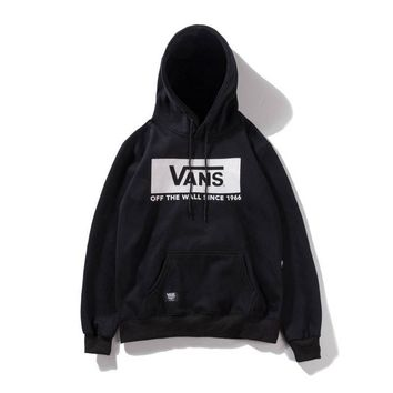 VANS autumn and winter new men and women lovers sports and leisure plus velvet hoodie Black