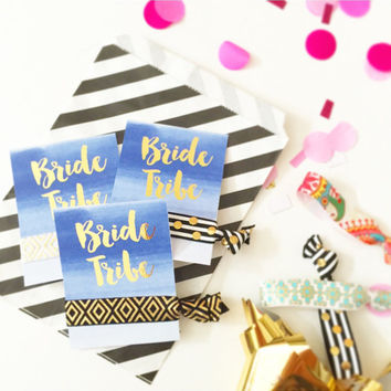 One Card with One Single Hair Tie Bachelorette Party Favors Accessories Small Gift Her Bride Tribe Creaseless Gold Foil Print Watercolor