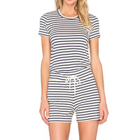 MONROW Tee Shirt Romper in Natural