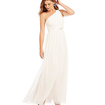 Aidan Aidan Mattox One-Shoulder Lace Gown | Dillards.com
