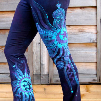 Deep Purple and Turquoise Om Batik Yoga Pants