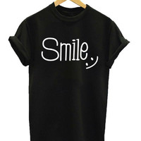 Women Tshirt Smile Print Cotton Casual Funny Shirt For Lady White Black Top Tee Harajuku Hipster Street Wear ZT203-119