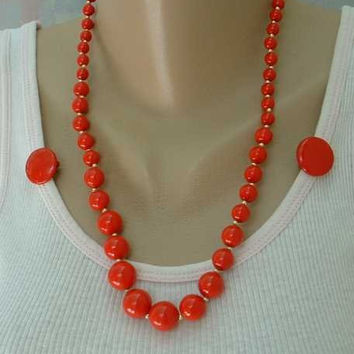 TRIFARI Red Orange Clip On Button Earrings married necklace SET Vintage