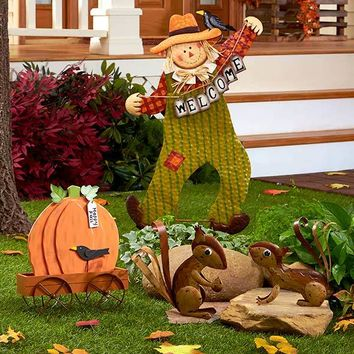 Fall Garden Decor Rustic Squirrels Scarecrow Cart Autumn Harvest Lawn Ornament