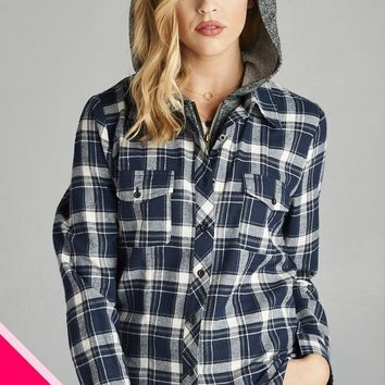 Navy/ Off White Plus Size Two Toned Hoodie/Plaid Shirt