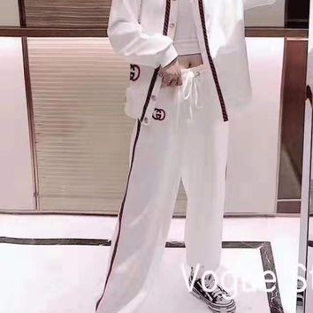 """""""Gucci"""" Woman Leisure Fashion Letter Embroidery Printing Spell Color Stripe Long Sleeve Trousers Two-Piece Set Casual Wear"""