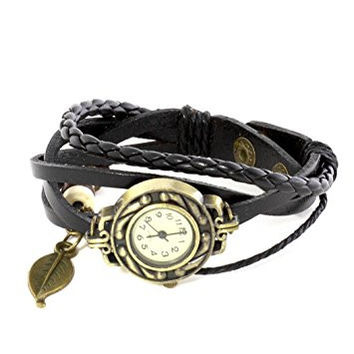 Watch Bracelet Beaded Leaf Charm Black Leather Gold Tone WA00 Vintage Braided Snap Cuff Fashion Jewelry