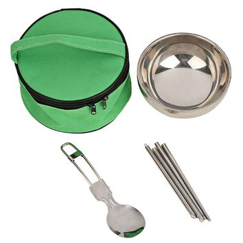 3 in1 Stainless Steel Camp Set - Bowl, Folding Spoon, Chopsticks
