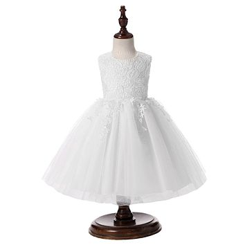 Elegant Cute Baby Girl Dress with Sleeveless Ball Gown Birthday Party Wedding Beautiful Clothing Dress for Age below 2 Years Old