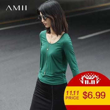 Minimalist Casual Women T-Shirts Solid Modal O-Neck Long Sleeve Tees Tops