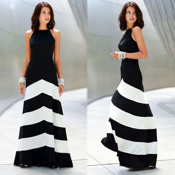 Stripes Patchwork Shaped Slim Stylish Sexy Prom Dress One Piece Dress [8096400071]