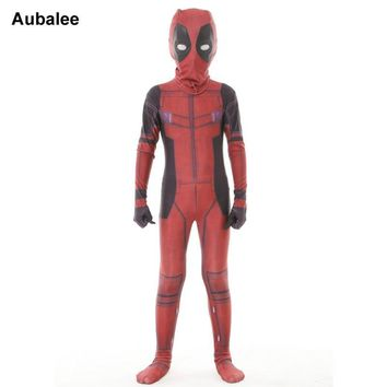 Deadpool Dead pool Taco Kids Cool  Cosplay Costume Fancy Dress Boys Halloween Party Zentai Suit Lycra Spandex X-man Red Superhero Full Bodysuit AT_70_6