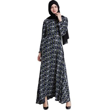 Babalet Womens' Modest Dubai Kaftan Geometric Print Full Length Dress