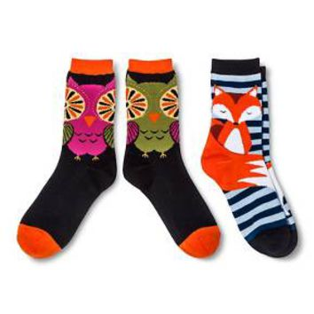 Davco Women's 2-Pack Fun Socks - Navy Red Fox/Black Owl One Size : Target