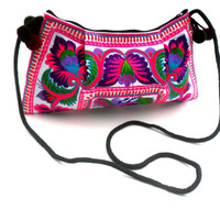 Ethnic Bohemian Bag Embroidery Crossbody Shoulder Bag Pink Flower Tribal Bag Hippie Handmade Handbags Boho Hobo  purse Bag Pom Pom Gift Bags