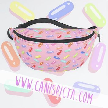 Fanny Pack 90s Colors Candy Pill Pattern 80s Accessory Yellow Bum Bag Purse Retro Pink Carryall Nineties Eighties Neon Bright Bold Blue Cute